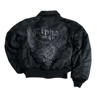 Fliegerjacke Alpha Industries CWU Flying Skull schwarz:   Fliegerjacke 
