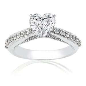 50 Ct Heart Shaped Diamond Engagement Ring Pave W Milgrains 14K GOLD