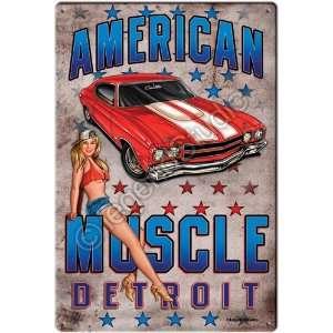 American Muscle Hotrod Pinup Girl Nostalgic Tin Metal