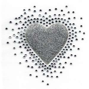 Silver Glitter w/Rhinestuds/Iron On Transfer/Valentine, Hearts, Love