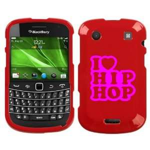 BLACKBERRY BOLD 9930 PINK I LOVE HIP HOP ON RED HARD CASE