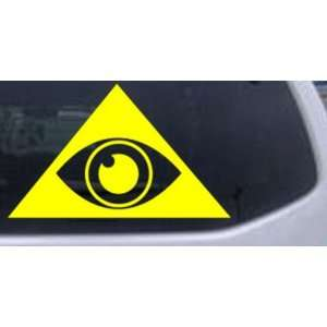 Yellow 24in X 14.7in    Illuminati Eye Masonic Car Window Wall Laptop