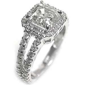 anillo de compromiso vintage diamante de corte 3.03ct HVS1 Asscher