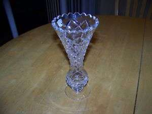 BEAUTIFUL POLONIA LEAD CRYSTAL CLEAR VASE 8 Tall