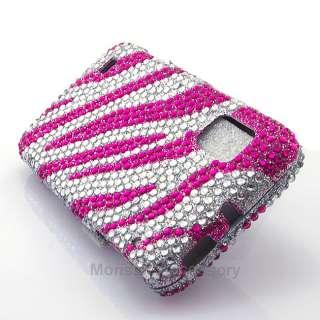 Pink Zebra Bling Hard Case Cover For ZTE Warp N860 Boost Mobile