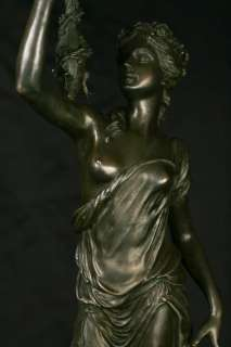 Pair French Louis XV Bronze Female Candelabras Figurines Ormolu
