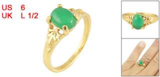 Green Fade Jade Decor Gold Tone Finger Ring US 6 for Lady