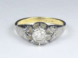 ANTIQUE ENGLISH ART DECO 18K YELLOW & WHITE GOLD ¼ct DIAMOND RING