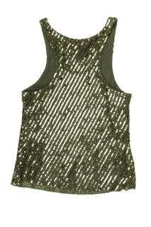 Gryphon womens crochet metallic sequin striped tank top $265 New