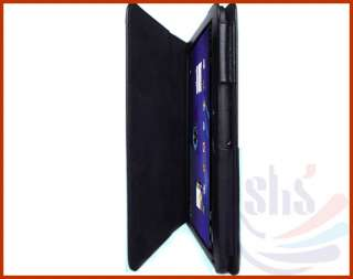 Black Stand Folio Leather Case Cover Bag For 10.1 inch Motorola Xoom