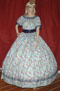 CIVIL WAR VICTORIAN PRAIRIE SASS Costume Dress Gown   Dark Blue Floral