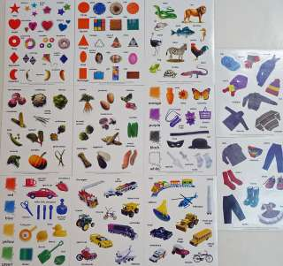 EMBELLISHMENTS CARDS CRAFTS   11 SHEETS STICKERS CARS FOOD CLOTHS KIDS