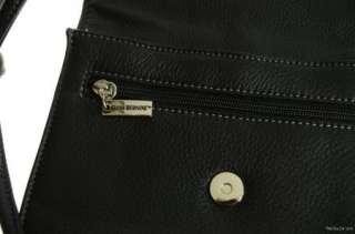 GIANI BERNINI $108 Black Leather FLAP TRIPLE ENTRY CROSSBODY BAG Purse
