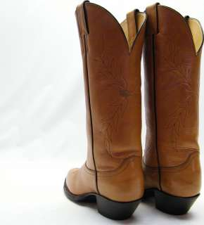 WOMENS VINTAGE JUSTIN BROWN COGNAC LEATHER COWBOY WESTERN BOOTS SZ 7B