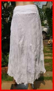 Thai Coconut Summer beach Hawaiian Broomstick Boho long Skirt white XS