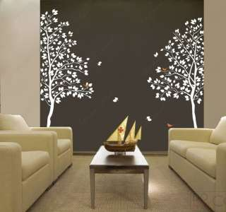 White Twin Tree(83inch tall) Vinyl Wall art decals