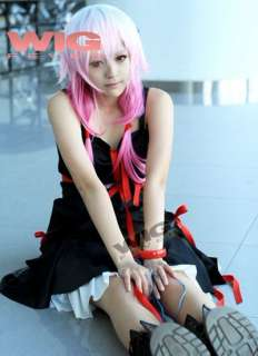 Guilty Crown Inori Yuzuriha New Cosplay Hair Wig Pink w White