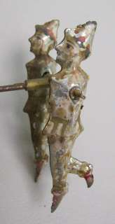 Antique EARLY Tin Clowns on Balancing Bar Pull Toy Part Orig Paint NR