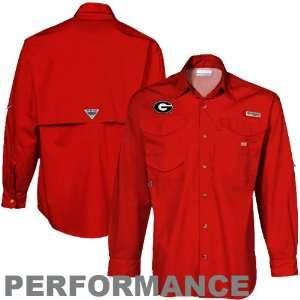 Red Xtreme Bonehead Long Sleeve Button Up Performance Fishing Shirt