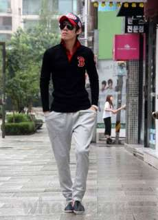 Fashion Ahead Mens Slim B Embroidery Polo T Shirt Sweatshirt Black
