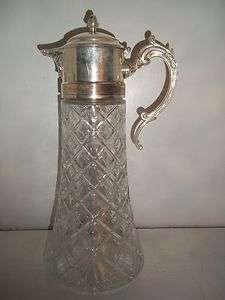 Silver Plated EP Zinc Italy 14in Glass Water Pitcher ~ Hinged Lid