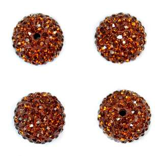 14mm Round Ball Pave Crystal Rhinestone Loose Spacer Beads Jewelry DIY