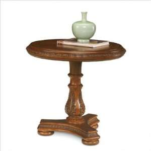 Cordoba Round Pedestal End Table in Burnished Pine