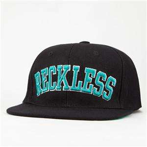 Young & Reckless Black Block Wool Blend Flat Bill Snapback Hat Ball