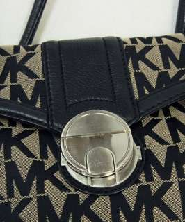 Michael Kors Black MK Logo Signature jacquard Satchel Purse Handbag