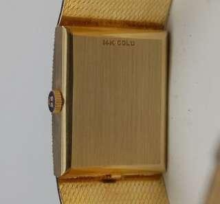 Mens OMEGA SOLID 14K GOLD Watch   Diamond Bezel   Rectangular Case