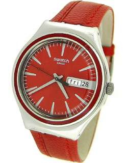 SWATCH SWISS RED LEATHER STRAP LADIES WATCH YGS746 |