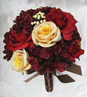 17 pc Bridal Bouquet wedding flowers APPLE RED FALL