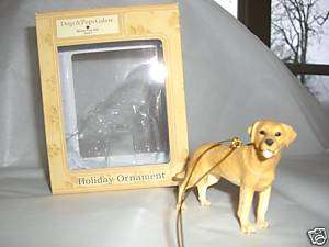 YELLOW LABRADOR DOG FIGURINE CHRISTMAS TREE ORNAMENT
