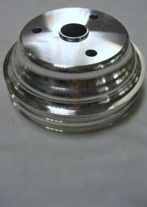 Block Chevy Aluminum Long Water Pump & 2 Groove Crankshaft Pulleys SBC