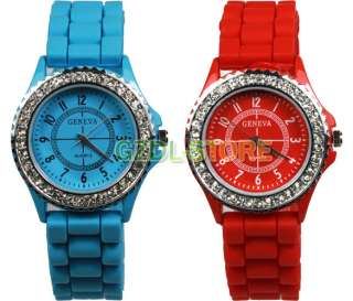 New Classic Gel Silicone Crystal Mens Womens Jelly Sport Quartz Watch