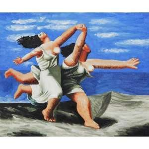 Oil Painting Two Women Running on the Beach Pablo