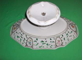 Antique Vintage Ornate Porcelain Pedestal Centerpiece Bowl AW China