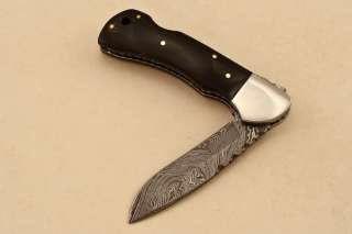 CUSTOM MADE DAMASCUS FOLDING KNIFE BUFFALO HORN (LOCK BACK) TS 307