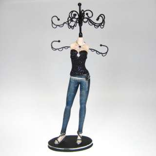 Denim Skinny Jeans Doll Jewelry Stand Tree Organizer Display Black Top