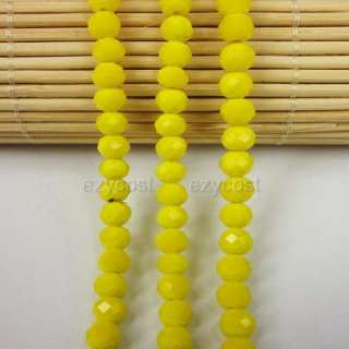 E0711 Yellow Glass Crystal Glass Faceted Rondelle 4x6mm
