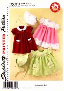 Simplicity Pattern 2392 Baby clothes Dress Bonnet XS L 039363523925