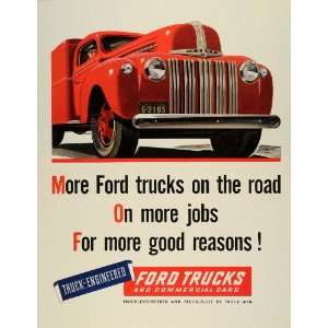 1945 Ad Vintage Ford Trucks Commercial Cars World War II