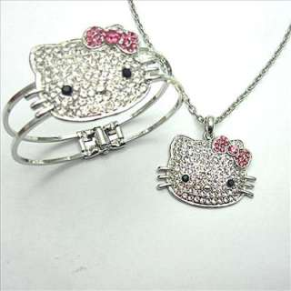 2012 brand new Free P&P crystal hello kitty bracelet bangle necklace