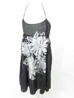 MISS ME Black White Silver Floral Print Halter Dress S