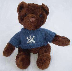 Plush Brown Teddy BEAR Blue Snowflake Sweater 6