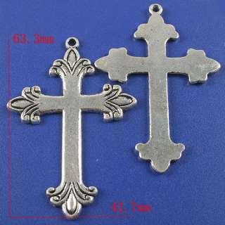 description 2pcs dark silver tone flower cross pendant charm h3770
