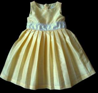Pageant Dress Party Wedding Portrait Yellow Satin Toddler 24 Mon 2T