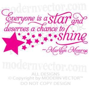 MARILYN MONROE Quote Vinyl Wall Decal EVERYONE ISA STAR