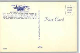 Postcard Pioneer Village Bikes & Motorcycles Minden,NE