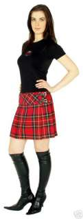 WOMENS MINI KILT SKIRT STEWART RED TARTAN PLAID SIZE 8